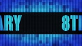 verjaardagskaartje : 8th Anniversary Front Text Scrolling on Light Blue Digital LED Display Board Pixel Light Screen Looped Animation 4K Background. Sign Board , Blinking Light, Pixel Monitor, LED Wall Pannel