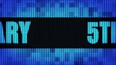 confete : 5th Anniversary Front Text Scrolling on Light Blue Digital LED Display Board Pixel Light Screen Looped Animation 4K Background. Sign Board , Blinking Light, Pixel Monitor, LED Wall Pannel Stock Footage