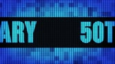 verjaardagskaartje : 50th Anniversary Front Text Scrolling on Light Blue Digital LED Display Board Pixel Light Screen Looped Animation 4K Background. Sign Board , Blinking Light, Pixel Monitor, LED Wall Pannel