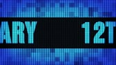 12th Anniversary Front Text Scrolling on Light Blue Digital LED Display Board Pixel Light Screen Looped Animation 4K Background. Sign Board , Blinking Light, Pixel Monitor, LED Wall Pannel Stock mozgókép
