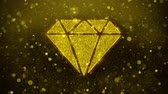 carat : Diamond Icon Golden Glitter Glowing Lights Shine Particles. Object, Shape, Web, Design, Element, symbol 4K Loop Animation.