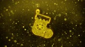 양말 : Christmas Stocking Pictogram Sock Icon Golden Glitter Glowing Lights Shine Particles. Object, Shape, Web, Design, Element, symbol 4K Loop Animation.