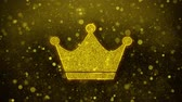 principe : Queen Royalty Crown Icon Golden Glitter Glowing Lights Shine Particles. Object, Shape, Web, Design, Element, symbol 4K Loop Animation.