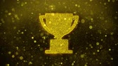 erster platz : Trophy Win Cup Icon Golden Glitter Glowing Lights Shine Particles. Object, Shape, Web, Design, Element, symbol 4K Loop Animation.