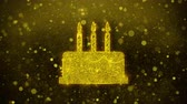 turkus : Birthday Cake Icon Golden Glitter Glowing Lights Shine Particles. Object, Shape, Web, Design, Element, symbol 4K Loop Animation.