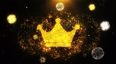 kraliçe : Queen Royalty Crown Icon on Firework Display Explosion Particles. Object, Shape, Text, Design, Element, Symbol 4K Animation. Stok Video