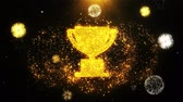 erster platz : Trophy Win Cup Icon on Firework Display Explosion Particles. Object, Shape, Text, Design, Element, Symbol 4K Animation.