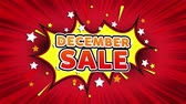 noel kartı : December Sale Text Pop Art Style Expression. Retro Comic Bubble Expression Cartoon illustration, Sale, Discounts, Percentages, Deal, Offer on Green Screen Stok Video