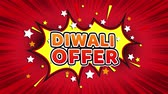 купон : Diwali Offer Text Pop Art Style Expression. Retro Comic Bubble Expression Cartoon illustration, Sale, Discounts, Percentages, Deal, Offer on Green Screen