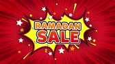パンフレット : Ramadan Sale Text Pop Art Style Expression. Retro Comic Bubble Expression Cartoon illustration, Sale, Discounts, Percentages, Deal, Offer on Green Screen