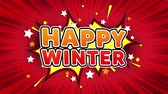 Happy Winter Text Pop Art Style Expression. Retro Comic Bubble Expression Cartoon illustration, Isolated Flat Cartoon Comic Style on Green Screen 무비클립