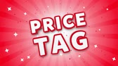 prezzi : Price Tag 3D Text on Red Sparkling Falling Confetti Background. ad, Promotion, Discount Offer Sale Loop Animation.