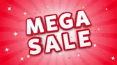 kırmızı : Mega Sale 3D Text on Red Sparkling Falling Confetti Background. ad, Promotion, Discount Offer Sale Loop Animation.