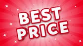kupon : Best Price 3D Text on Red Sparkling Falling Confetti Background. ad, Promotion, Discount Offer Sale Loop Animation.