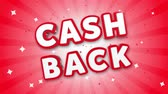 garantie : Cash Back 3D Text on Red Sparkling Falling Confetti Background. ad, Promotion, Discount Offer Sale Loop Animation.