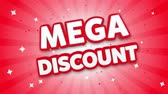 brochura : Mega Discount 3D Text on Red Sparkling Falling Confetti Background. ad, Promotion, Discount Offer Sale Loop Animation.