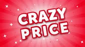 prezzi : Crazy Price 3D Text on Red Sparkling Falling Confetti Background. ad, Promotion, Discount Offer Sale Loop Animation.