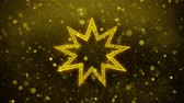 sivri : Bahai Nine pointed star Bahaism Icon Golden Glitter Glowing Lights Shine Particles. Object, Shape, Web, Design, Element, symbol 4K Loop Animation. Stok Video