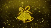 noel kartı : Christmas Ribbon Bow Bells Icon Golden Glitter Glowing Lights Shine Particles. Object, Shape, Web, Design, Element, symbol 4K Loop Animation.