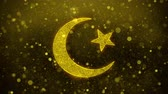 quran : Star and Crescent symbol Islam religion Icon Golden Glitter Glowing Lights Shine Particles. Object, Shape, Web, Design, Element, symbol 4K Loop Animation. Stock Footage
