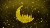 calligrafia araba : Islamic mosque Moon ramadan Icon Golden Glitter Glowing Lights Shine Particles. Object, Shape, Web, Design, Element, symbol 4K Loop Animation.