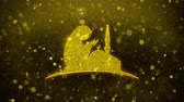 coran : Dua, namaz, rezando, islam, icono islámico Golden Glitter Glowing Lights Shine Particles. Objeto, forma, web, diseño, símbolo de elemento Animación de bucle 4K Archivo de Video