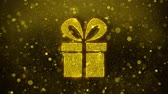 noel kartı : Red Ribbon Gift Box Present Icon Golden Glitter Glowing Lights Shine Particles. Object, Shape, Web, Design, Element, symbol 4K Loop Animation.