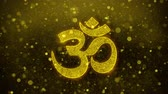 lotos : Hinduism, meditation, om, yoga hindu symbol, indian religion Icon Golden Glitter Glowing Lights Shine Particles. Object, Shape, Web, Design, Element, symbol 4K Loop Animation.