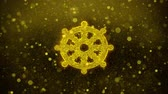 sagesse : Wheel of Dharma Buddhism religion Icon Golden Glitter Glowing Lights Shine Particles. Object, Shape, Web, Design, Element, symbol 4K Loop Animation. Vidéos Libres De Droits