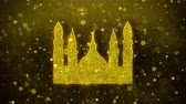 rosário : Islamic Icon, Mosque religious, muslim Icon Golden Glitter Glowing Lights Shine Particles. Object, Shape, Web, Design, Element, symbol 4K Loop Animation. Vídeos