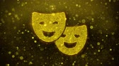 humor : Drama, play, theater mask Icon Golden Glitter Glowing Lights Shine Particles. Object, Shape, Web, Design, Element, symbol 4K Loop Animation. Stock Footage