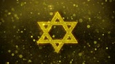 İbranice : David The Jewish star Religion Icon Golden Glitter Glowing Lights Shine Particles. Object, Shape, Web, Design, Element, symbol 4K Loop Animation.