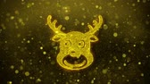 rena : Christmas Reindeer Xmas Deer Icon Golden Glitter Glowing Lights Shine Particles. Object, Shape, Web, Design, Element, symbol 4K Loop Animation.