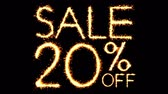 büyük : Sale 20 Off Text Sparkler Writing With Glitter Sparks Particles Firework on Black 4K Loop Background. Sale, discount Off, Offer, business promotion , advertisement .