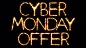 büyük : Cyber Monday Sale Text Sparkler Writing With Glitter Sparks Particles Firework on Black 4K Loop Background. Sale, discount Off, Offer, business promotion , advertisement .