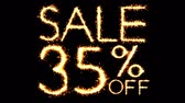 semana : Sale 35 Off Text Sparkler Writing With Glitter Sparks Particles Firework on Black 4K Loop Background. Sale, discount Off, Offer, business promotion , advertisement .