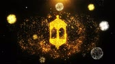 arabic design : Islamic, islam, religious, Monument, Monuments Icon on Firework Display Explosion Particles. Object, Shape, Text, Design Element Symbol 4K Animation