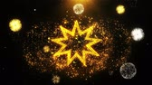 sivri : Bahai Nine pointed star Bahaism Icon on Firework Display Explosion Particles. Object, Shape, Text, Design, Element, Symbol 4K Animation.