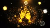 champanhe : Cheers Celebration Toast Two Glasses Champagne Icon on Firework Display Explosion Particles. Object, Shape, Text, Design, Element, Symbol 4K Animation. Stock Footage