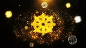illuminismo : Wheel of Dharma Buddhism religion Icon on Firework Display Explosion Particles. Object, Shape, Text, Design, Element, Symbol 4K Animation. Filmati Stock