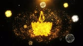 kult : Religious symbol Ayyavazhi symbolism Icon on Firework Display Explosion Particles. Object, Shape, Text, Design, Element, Symbol 4K Animation.