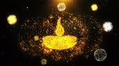 auspicioso : Diwali, diwali diya, diwali lamp, diya Icon on Firework Display Explosion Particles. Object, Shape, Text, Design, Element Symbol 4K Animation Stock Footage
