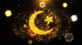 altın : Star and Crescent symbol Islam religionIcon on Firework Display Explosion Particles. Object, Shape, Text, Design, Element, Symbol 4K Animation. Stok Video