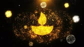 auspicioso : Diya, Lamp, Diwali, Decoration, Festival, Indian Icon on Firework Display Explosion Particles. Object, Shape, Text Design Element Symbol 4K Animation