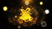 altın : Christmas Ribbon Bow Bells Icon on Firework Display Explosion Particles. Object, Shape, Text, Design, Element, Symbol 4K Animation.
