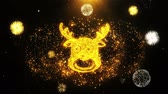 campana : Christmas Reindeer Xmas Deer Icon on Firework Display Explosion Particles. Object, Shape, Text, Design, Element, Symbol 4K Animation. Filmati Stock