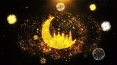 raya : Islamic mosque Moon ramadan Icon on Firework Display Explosion Particles. Object, Shape, Text, Design, Element, Symbol 4K Animation. Stock Footage