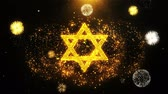 davidstern : David The Jewish star Religion Icon on Firework Display Explosion Particles. Object, Shape, Text, Design, Element, Symbol 4K Animation.