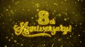grazie : 8th Happy Anniversary Golden Greeting Text Appearance Blinking Particles with Golden Fireworks Display 4K for Greeting card, Celebration, Invitation, calendar, Gift, Events, Message, Holiday, Wishes .