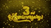 inviti : 3rd Happy Anniversary Golden Greeting Text Appearance Blinking Particles with Golden Fireworks Display 4K for Greeting card, Celebration, Invitation, calendar, Gift, Events, Message, Holiday, Wishes . Filmati Stock
